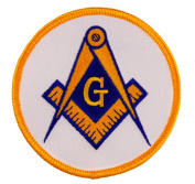 Masonic Square and Compass Gold and Blue embroidered Patch