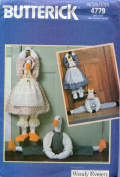 Butterick Craft Pattern 4779 ~ Draught Stp Stuffed Cow and Duck with Country Theme Outfits ~ Designed by Wendy Everett