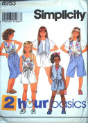 Simplicity 8953 Girls' Shorts, Top and Lined Vest, Size AA 7 8 10