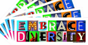 5-Pack of Embrace Diversity 7.6cm x 23cm Bumper Stickers