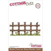 CottageCutz Die 10cm x 15cm -Rustic Fence With Grass Border