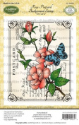 JustRite Stampers Cling Stamps - Rose Postcard Background