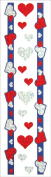 Jillson Roberts Prismatic Stickers, Hearts with Red and Silver on Purple Borderettes, 12-Sheet Count