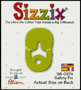 Sizzix Ellison Original Small Green Die Nappy Safety Pin 38-0274 Pre-Scored Factory Sealed