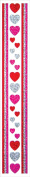 Jillson Roberts Prismatic Border Stickers, Pink, Silver, Red, White Hearts and Stripes, 12-Sheet Count