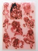 Anime Neko Girls (18cm x 25cm ) Large Sheet Clear Stamps / Manga, Kawaii, Neko, Chibi