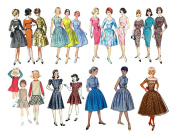 Vintage Fashion Girls Fifties / Large Sheet 20cm x 25cm // FLONZ