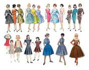 Vintage Fashion Girls Fifties / Large Sheet 20cm x 25cm // FLONZ