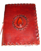 Viatori Antique Leather Journal with Polished Stone and Parchment Paper (14cm x 18cm ) - Templar Series