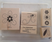 Stampin Up Retired Set Of 5 FRIENDSHIP BLOOMS Wood Stamps
