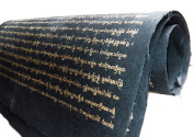 Mulberry Paper Thai Lanna Gold Letters on Black Background