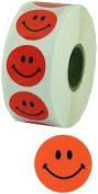 Orange Smiley Face Stickers 2.5cm Diameter Roll of 1000