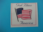 "Kanzaki Primeline, ""God Bless America"", With American Flag, 8.9cm (W) x 8.3cm (H), Decal Sticker"