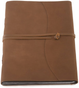Indiary Photo Album Scrapbook Made of Genuine Buffalo Leather and Handmade Paper - 33cm x 25cm -buffal-brown