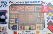 """MessageStor WOODEN STAMP Set """"HOLIDAYS"""" 78 Pieces w 58 WOOD Mounted STAMPERS, 8 INK PADS, See Thru aluminium STORAGE CASE & More"""