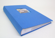 Deluxe Cloth Fabric Photo Album 4x6 300 Plastic Slip-in Pockets with Memo Space and Front Cover Theme Frame. Sky Blue