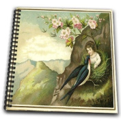 Florene Fairies n Fantasy - Canvas Picture Of Vintage Fairy With Beautiful Large Bird - Drawing Book
