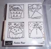 Stampin Up Festive Four 2004 Retired Rubber Stamp Set