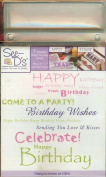 See D's Birthday Phrases 7 Rubber Stamps + Acrylic Block + Case # 50672 Inque Boutique Sugarloaf