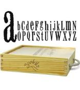 Junkitz Tim Holtz Foam Alphabet Stampz with Wood Storage Box