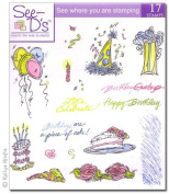 See D's Piece of Cake Collection 17 Stamps and Case with Acrylic Block and Work Mat 50500