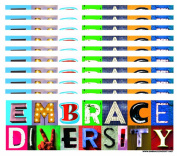 10-Pack of Embrace Diversity 7.6cm x 23cm Bumper Stickers