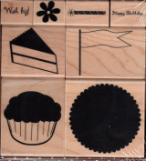 Birthday Cupcake Wood Mounted Rubber Stamp Set