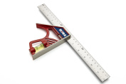 BORA 531120 30cm Magnetic Combination Square with Etched Stainless Steel Blade Inch Graduations, High Visibility Vial