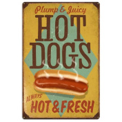 Hot Dogs Plump and Juicy Large Sign