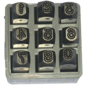 Low Stress Dot Design Steel Hand Stamp Sets - 0.6cm 9pc. dot design number set low stress