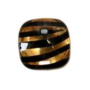 Gold - 14pc Smooth Acrylic Zebra Flatback Rounded Square Rhinestones