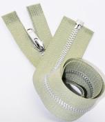 44cm Aluminium Zipper Number 3 Separating (Not YKK) Colour Khaki Green by Each