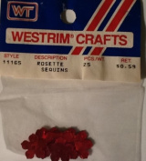 Red Rosette Sequins - Small Centre Hole - Approx 1.3cm Diameter - 25 Per Package - Westrim Crafts Style 11165