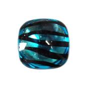 Turquoise - 14pc Smooth Acrylic Zebra Flatback Rounded Square Rhinestones