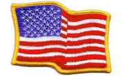 USA Waving iron-on embroidered patch
