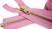 120cm Metal Jacket Zipper Talon (Special) #5 - Medium Weigh Brass Separating Colour Hot Pink