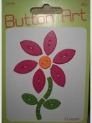Button Art Dark Pink Flower Green Stem Leaves