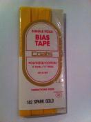 J & P Coats Bias Tape Single Fold 4 Yards 1.9cm Wide Spark Gold