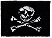 Jolly Roger Mini Flag iron-on embroidered patch
