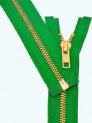 28cm Metal Zipper ~ YKK #5 Brass Separating ~ 876 Kelly Green