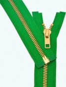 28cm Metal Zipper ~ YKK #5 Brass Separating ~ 876 Kelly Green