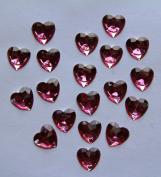 36-Piece Flat Back Acrylic HEART Rhinestones 20mm, Fuchsia