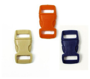 Mix of 15 Sapphire Blue, Tan, Orange 1cm Buckles (5 each) , Contoured Side-Release. Perfect for Paracord Bracelets.