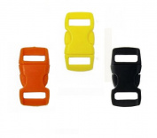 Mix of 15 Black, Yellow, Orange 1cm Buckles (5 each) , Contoured Side-Release. Perfect for Paracord Bracelets.