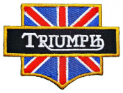 Triumph Motorcycles UK Flag Vintage Bikes Yellow Logo Jacket BT03 Patches