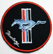 Ford Mustang Patches (Blue Horse) Embroidered Iron on Patch Black 7.5x7.5 Cm / Hooray Ya