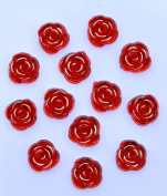 40-Piece Flat Back Acrylic ROSE Rhinestones 15mm, Ruby Red