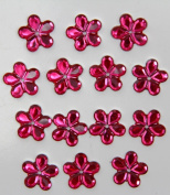 48-Piece Flat Back Acrylic FLOWER Rhinestones 18mm, Fuchsia