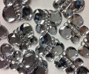 50-Piece Flat Back Acrylic BUTTERFLY Rhinestones 18mm, Crystal Clear