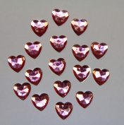 240-Piece Flat Back Acrylic HEART Rhinestones 8mm, Pink